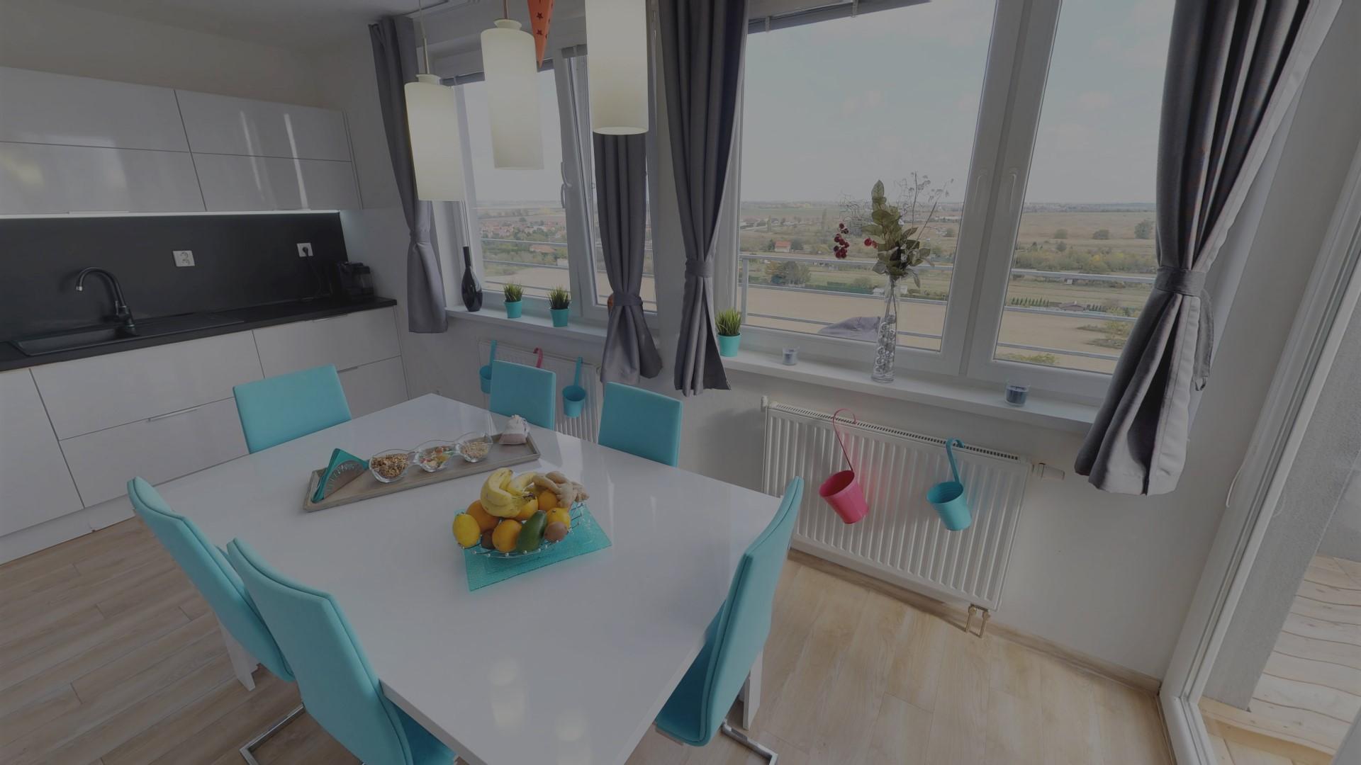 Virtuálna prehliadka-byt-bratislava-matterport-stôl-kuchyňa-3D-panora